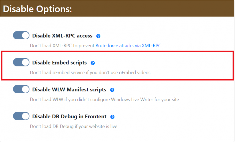 Disable Embed Scripts