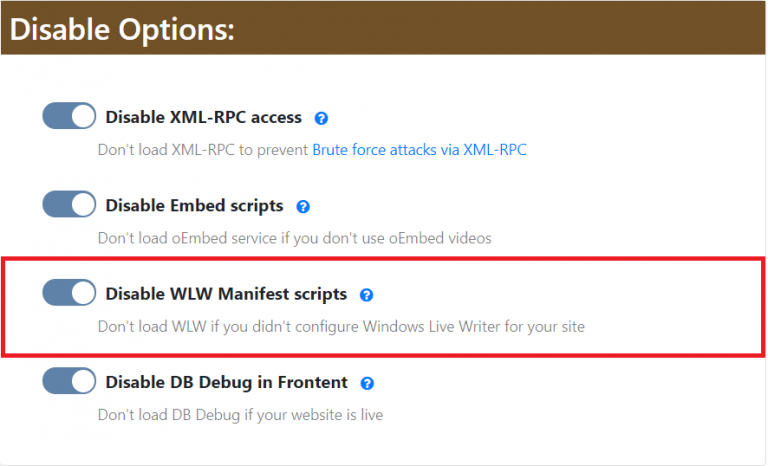 Disable WLW Access